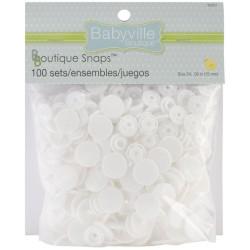 Boutons pressions en résine (100 sets) - Blanc (Taille 24)