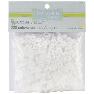 Boutons pressions en résine (100 sets) - Blanc (Taille 16)
