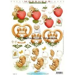 Image Carterie 3D - Ecureuils, souris et chiot en forêt