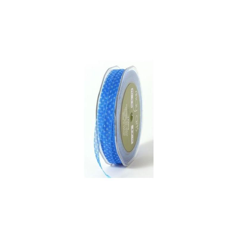 Ruban Organza Mini - Bleu à pois