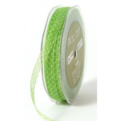 Ruban Organza Mini - Vert à pois