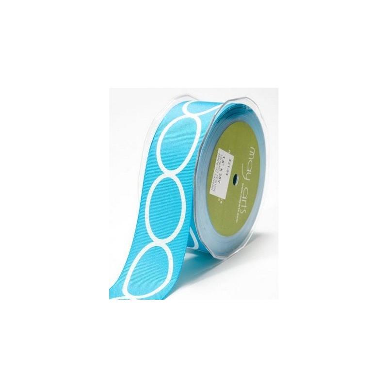 Ruban grosgrain large turquoise imprimé ovales blancs