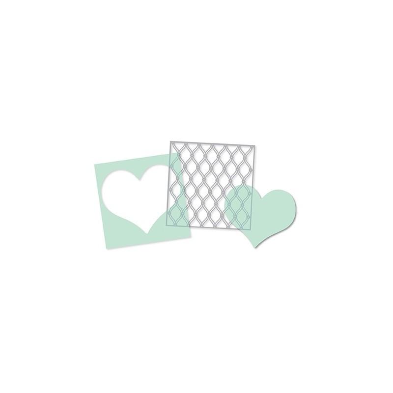 Pochoirs Heidi Swapp (par 3) - Heart, Cut Out Heart & Fence