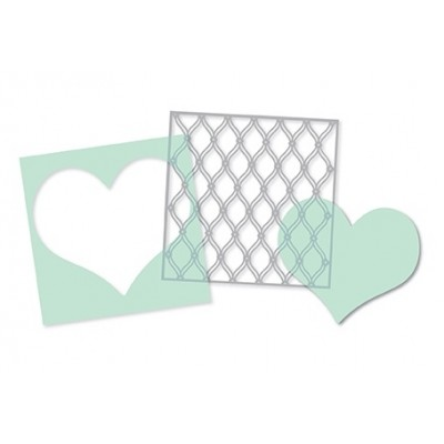Pochoirs Heidi Swapp (par 3) - Heart, Cut Out Heart & Fence