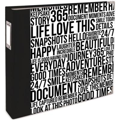 Classeur Teresa Collins 30.5x30.5 cm - Quoted Black & White Wordfetti