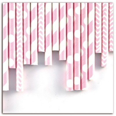 Assortiment 24 pailles - Rose